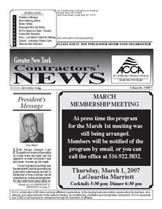 Newsletter - MARCH 2007