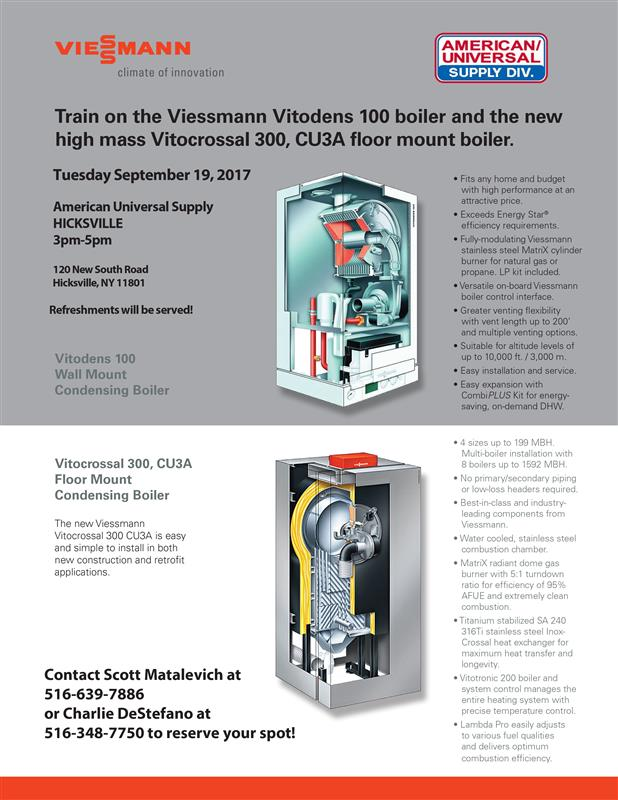 Train on the Viessmann Vitodens 100 boiler and the new high mass Vitocrossal 300, CU3A floor mount boiler.