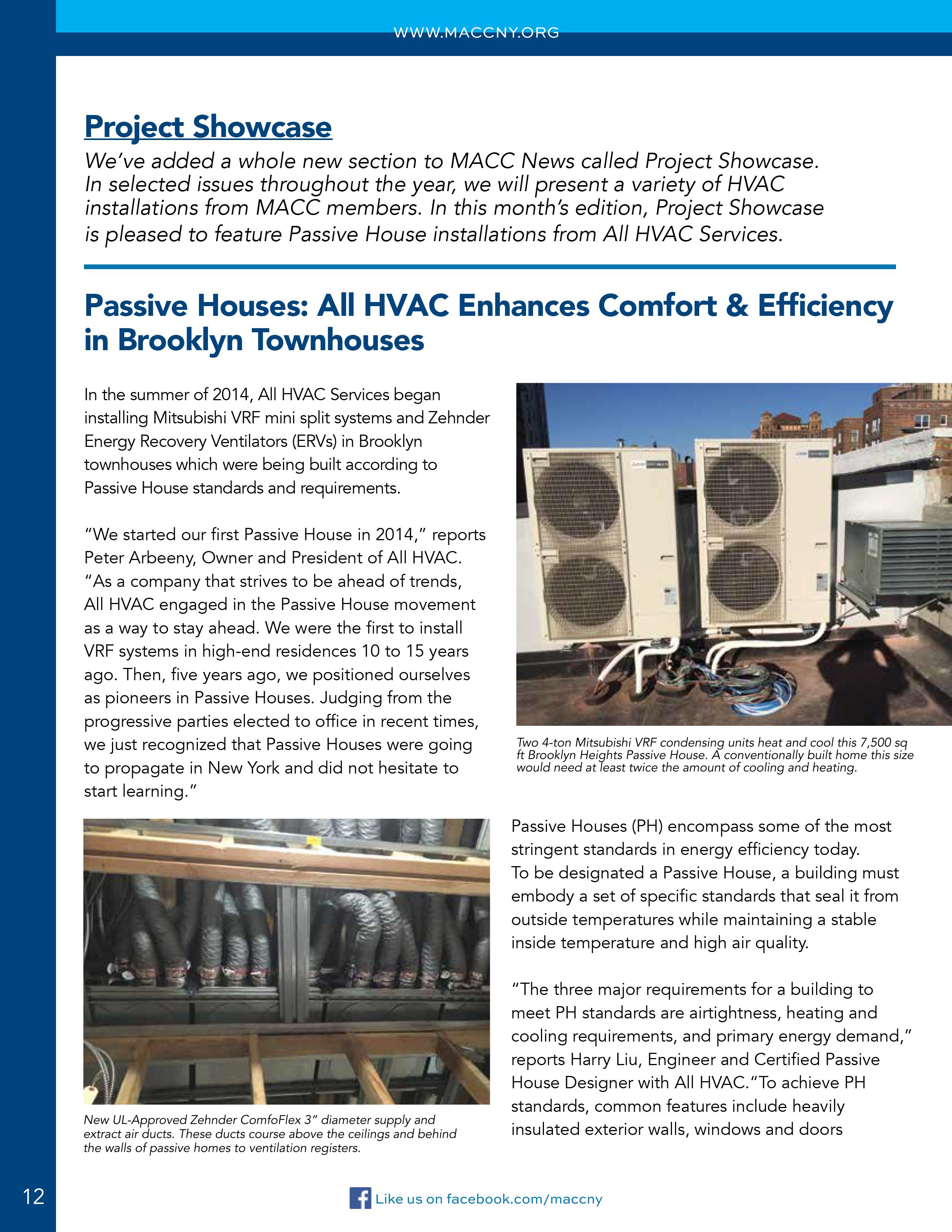 MACC News: Project Showcase: Passive Houses: All HVAC