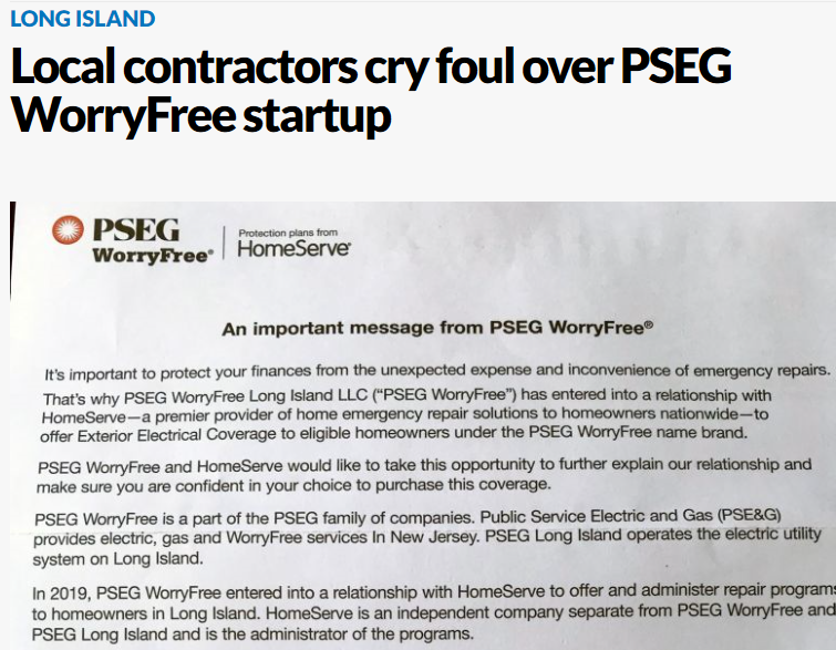 Local contractors cry foul over PSEG WorryFree startup
